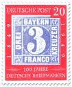 100 Jahre deutsche Briefmarken (drei Kreuzer)