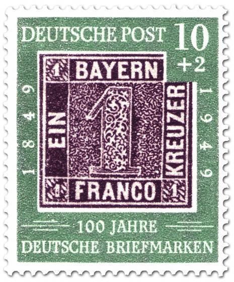 Briefmarke: 100 Jahre deutsche Briefmarken (Ein Kreuzer)
