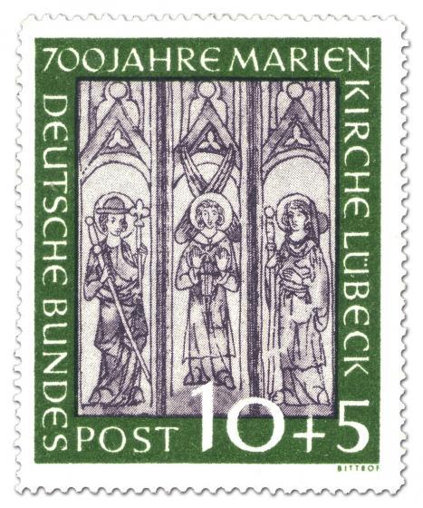 Briefmarke:  700 Jahre Marienkirche Lübeck - Wandmalerei (10+5)