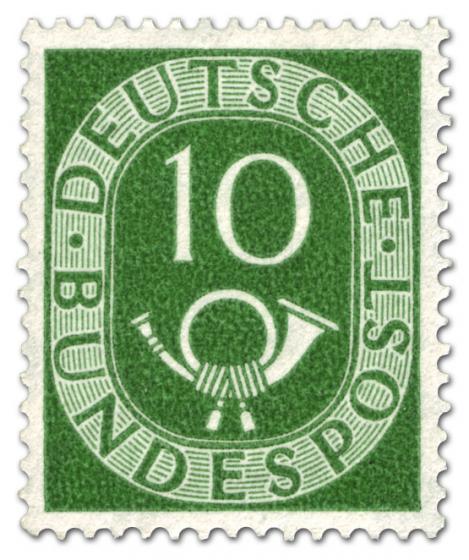 Briefmarke: Posthorn 10 Pfennige