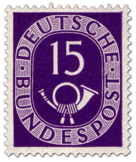Briefmarke: Posthorn 15 Pfennige