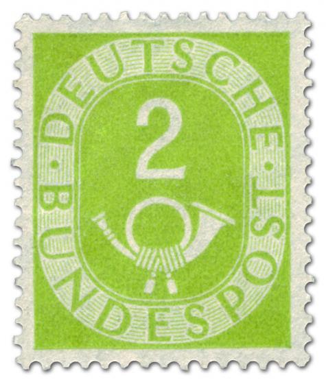 Briefmarke: Posthorn 2 Pfennige