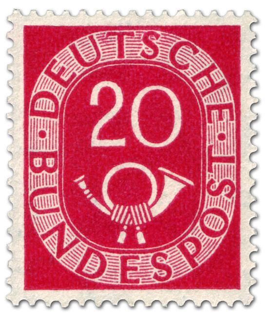 Posthorn 20 Pfennige Briefmarke 1951