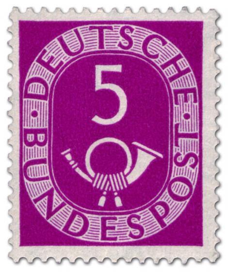 Briefmarke: Posthorn 5 Pfennige