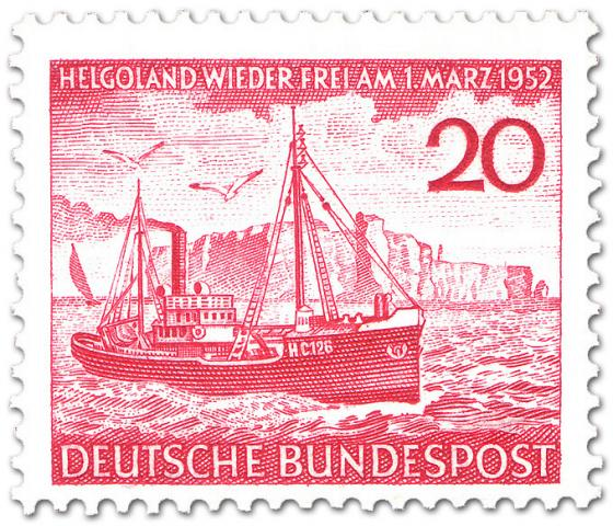 Briefmarke: Fischdampfer auf See vor Helgoland