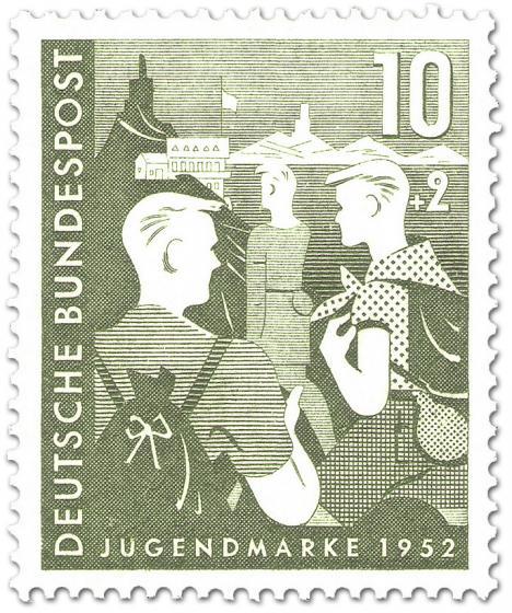 Briefmarke: Wandern Jungen vor Jugendherberge (Bundesjugendplan)