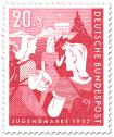 Briefmarke: Wandernde, musizierende Mädchen (Bundesjugendplan)
