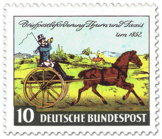 Briefmarke: Kutsche zur Briefpost-Beförderung (Thurn und Taxis)