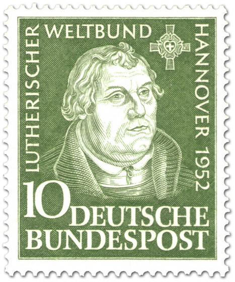 Briefmarke: Martin Luther (nach Holzschnitt von Lucas Cranach d.Ä.)