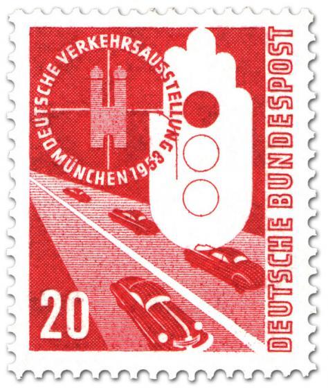 Briefmarke: Auto, Strasse - Verkehrsausstellung München