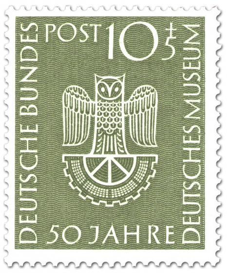 Briefmarke: Deutsches Museum München - Eule auf halbem Zahnrad
