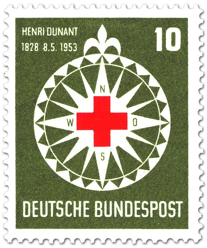 Rotes Kreuz Auf Windrose Fur Henri Dunant Briefmarke 1953