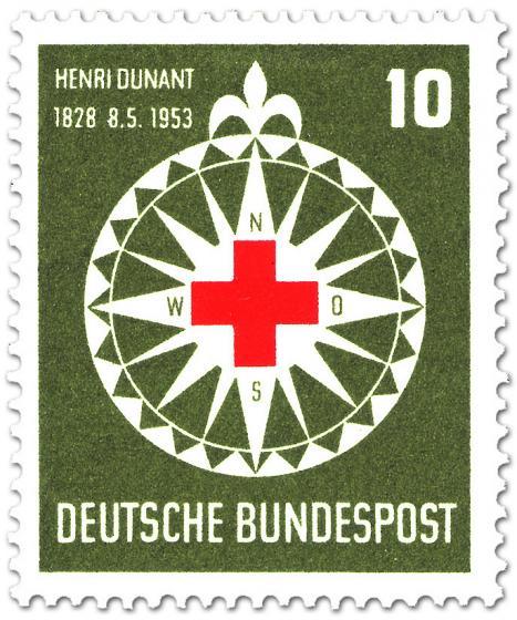 Briefmarke: Rotes Kreuz auf Windrose (für Henri Dunant)