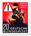Briefmarke: Verkehrsunfall - Mutter mit verletztem Jungen und Warndreieck