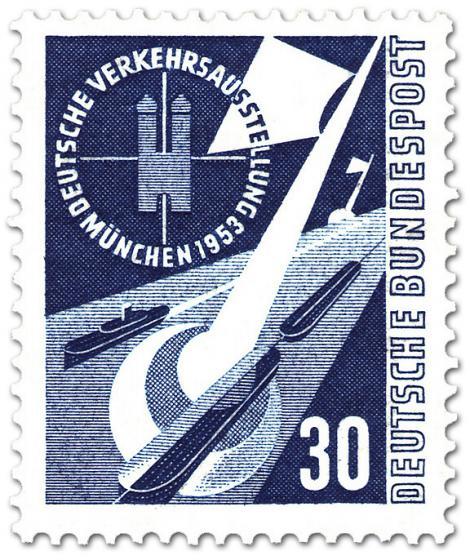 Briefmarke: Wasserstrasse, Kanal und Schiffe - Verkehrsausstellung München