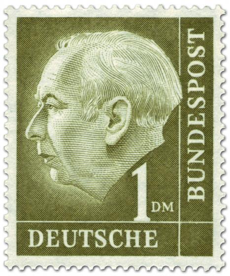 Briefmarke: Bundespräsident Theodor Heuss 1 DM