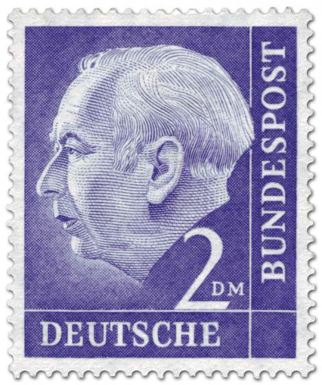 Briefmarke: Bundespräsident Theodor Heuss 2 DM