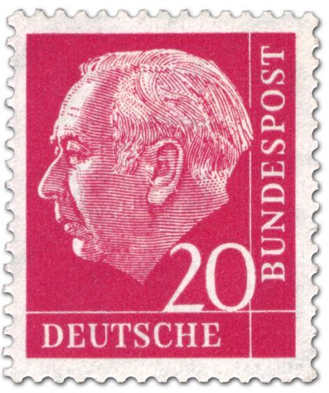 Briefmarke: Bundespräsident Theodor Heuss 20