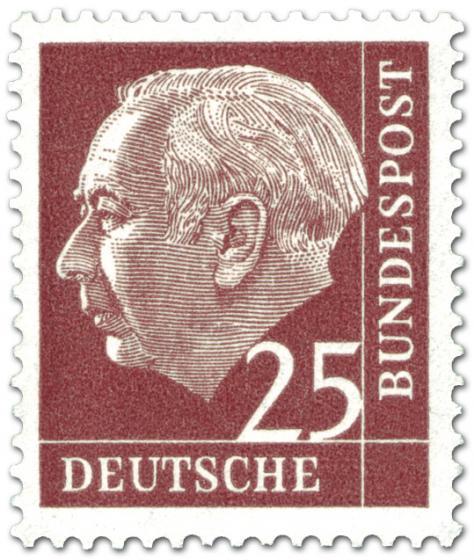 Briefmarke: Bundespräsident Theodor Heuss 25