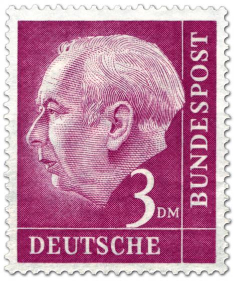 Briefmarke: Bundespräsident Theodor Heuss 3 Dm