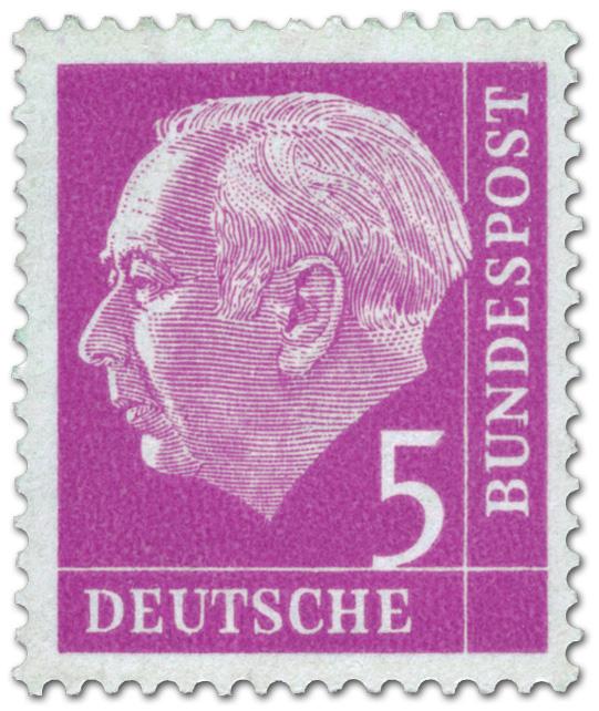 Bundespräsident Theodor Heuss 5 Briefmarke 1954