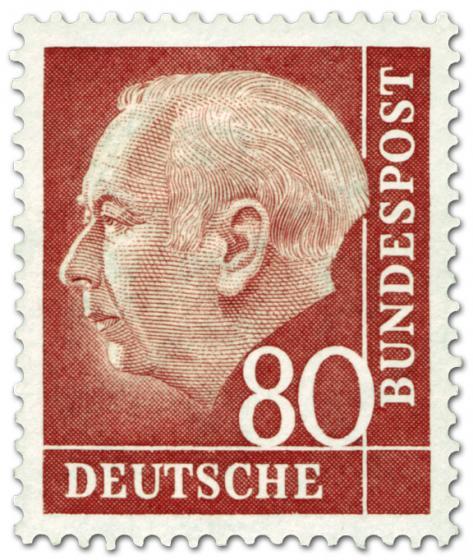 Briefmarke: Bundespräsident Theodor Heuss 80