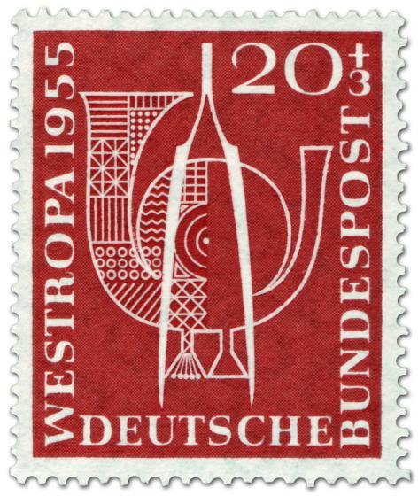 Briefmarke: Pinzette Posthorn (Briefmarkenausstellung 1955)