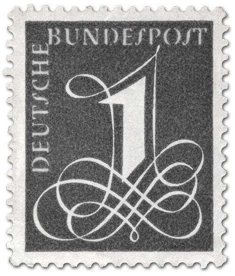 Briefmarke: Deutsche Bundespost: Eins mit Schnörkel