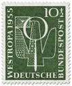 Brieftaube und Lupe (Briefmarkenausstellung 1955)