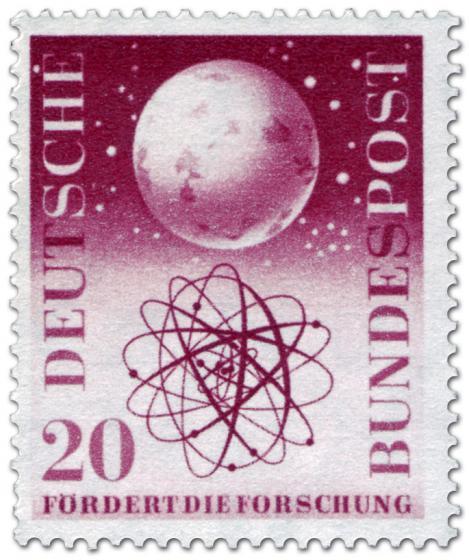 Briefmarke: Weltall Atommodell (Forschungsförderung)