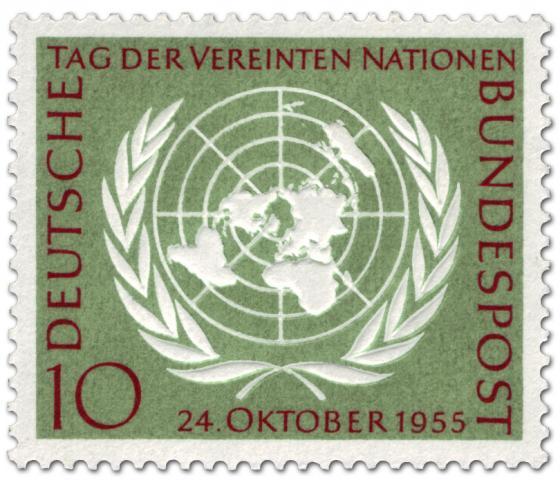 Briefmarke: Weltkugel mit Lorbeerkranz - Uno Logo (Vereinte Nationen)