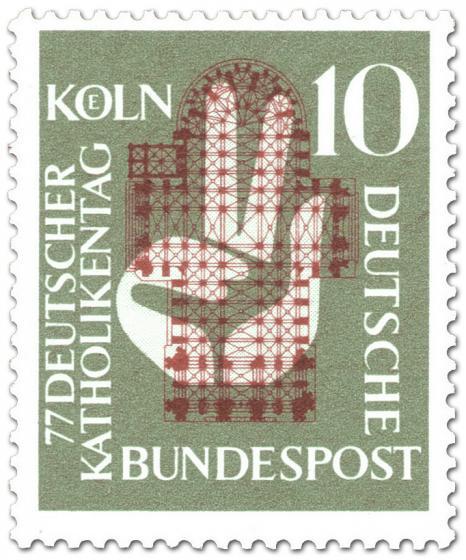 Briefmarke: Katholikentag: Grundriss einer Kirche und Hand