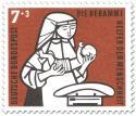 Briefmarke: Hebamme mit Kind und Waage