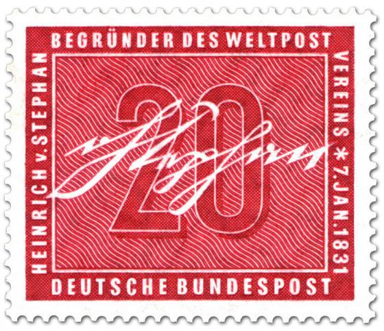 Briefmarke: Unterschrift von Heinrich von Stephan (Mitbegründer des Weltpostvereins)