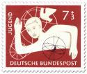 Briefmarke: Jugendmarke: Junge mit Atommodell und Taube