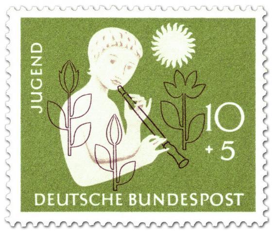 Briefmarke: Jugendmarke: Mädchen mit Flöte, Blumen und Sonne