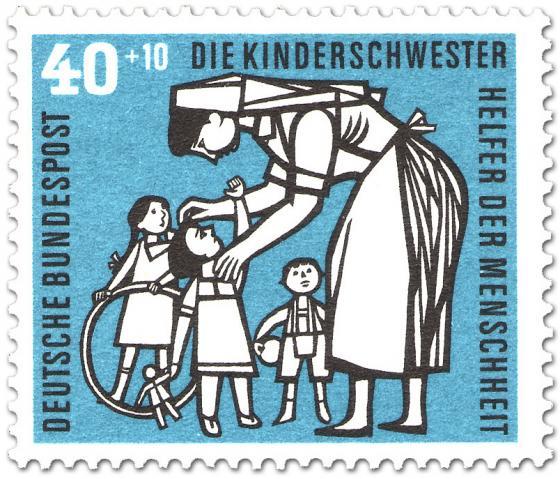 Briefmarke: Kinderschwester mit Kindern