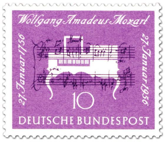 Briefmarke: Klavier und Noten (Wolfgang Amadeus Mozart 200. Todestag)