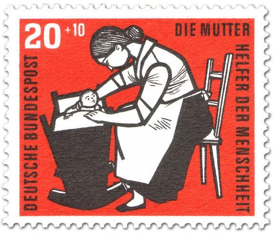 Briefmarke: Mutter mit Kind in einer Wiege