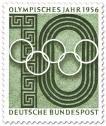 Briefmarke: Olympische Ringe und Stadion