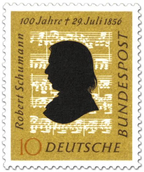 Briefmarke: Robert Schumann (Komponist) - Silhouette vor Noten