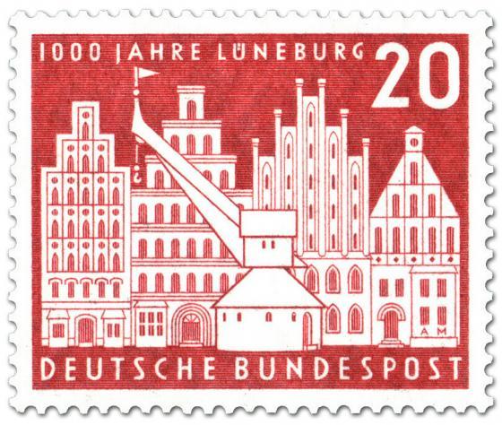 Briefmarke: Stadt Lüneburg (Baukran und Bürgerhäuser)