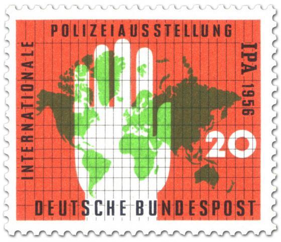 Briefmarke: Internationale Polizeiausstellung - Weltkarte und Hand
