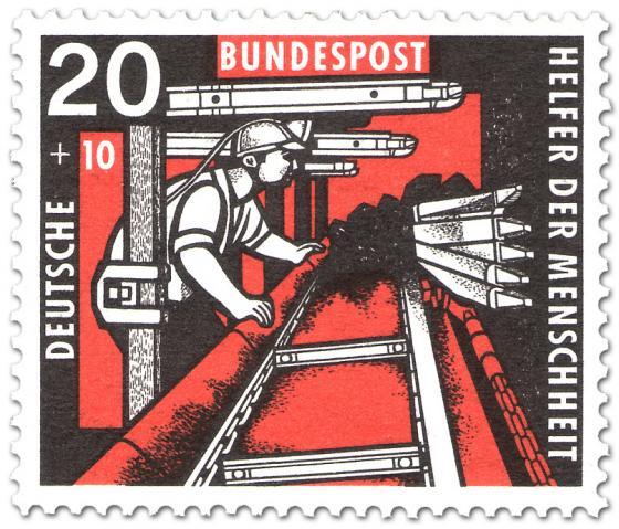 Briefmarke: Bergmann im Stollen am Kohlenhobel