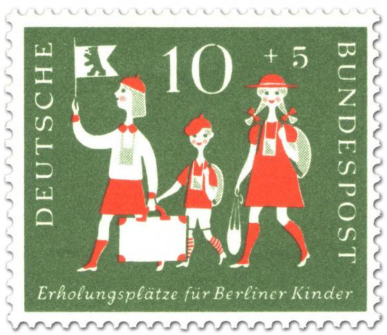 Briefmarke: Berliner Kinder mit Reisegepäck (zur Erholung)