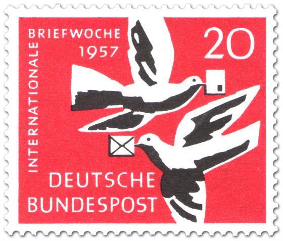 Briefmarke: Brieftauben mit Briefen (Internationale Briefwoche)