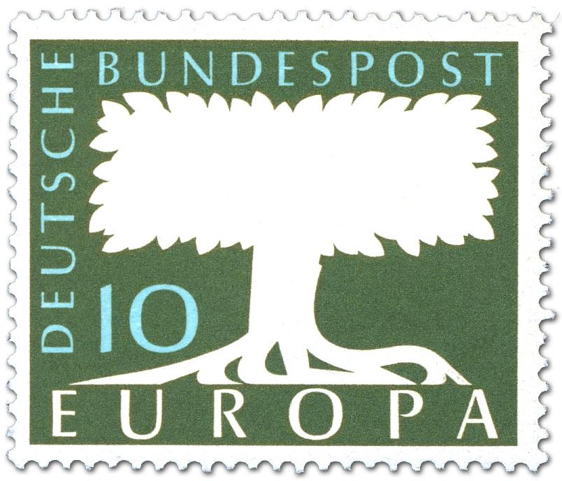 Europamarke Baum 10 Briefmarke 1957