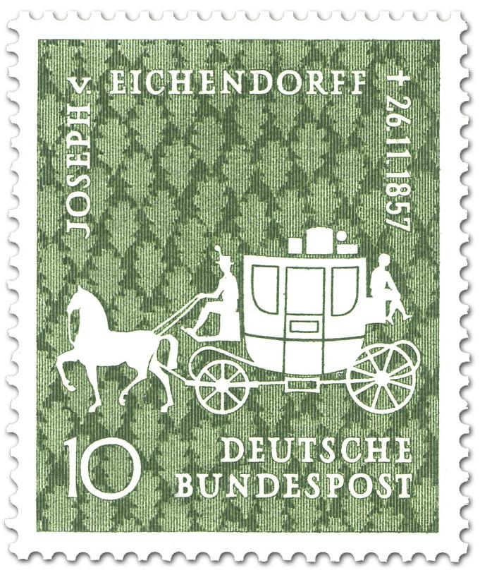 joseph von eichendorff dichter briefmarke 1957. Black Bedroom Furniture Sets. Home Design Ideas
