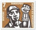 Briefmarke: Kohlebergbau: Bergmann mit Grubenlampe