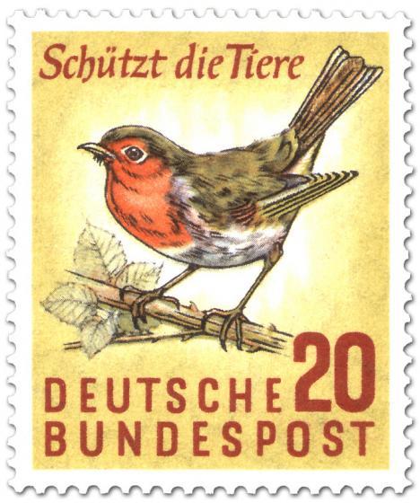 Briefmarke: Rotkehlchen - Schützt die Tiere!